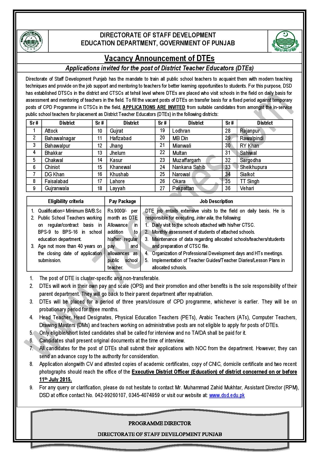 Applications invited for the post of District Teacher Educators DTEs
