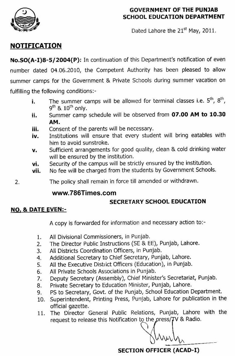 Notification of Summer Camp 2011 for Schools