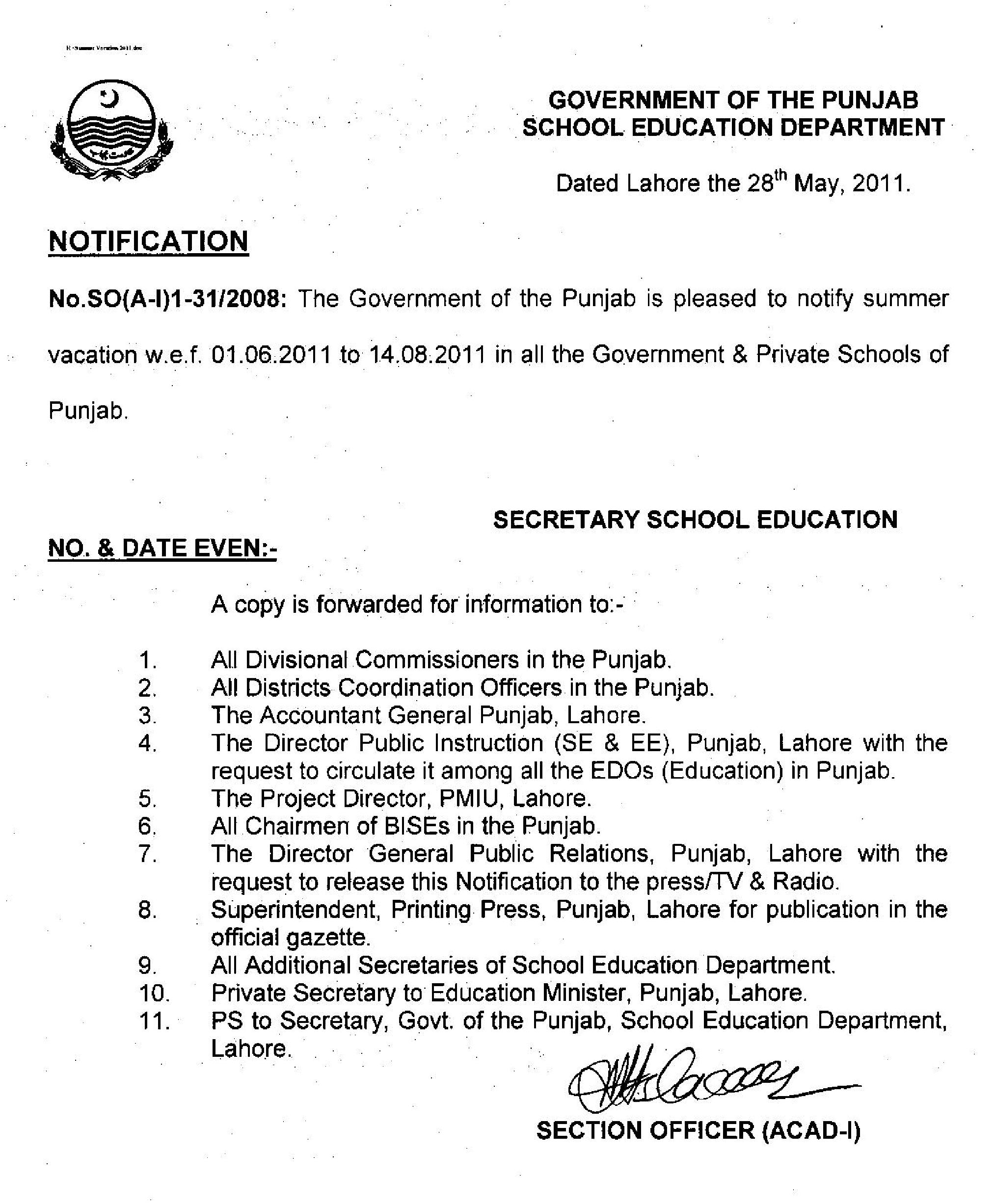 Notification of Summer Vacations in Punjab 2011