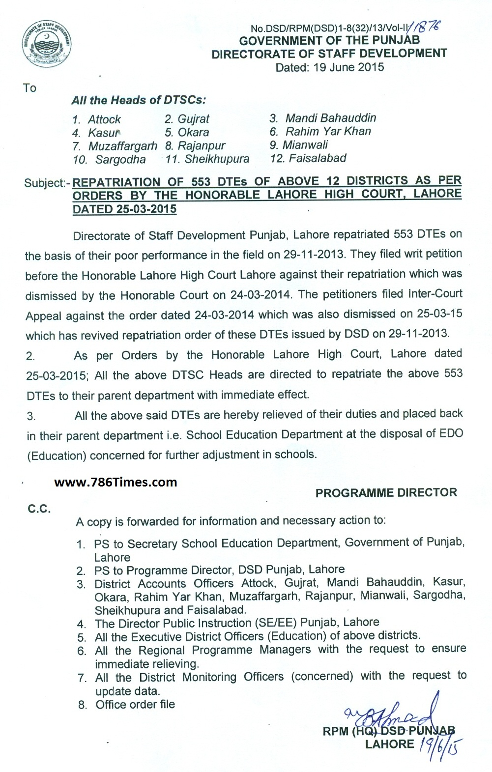 Repatriation of 553 DTE's  of 12 Districts as per orders by the honorable Lahore High Court dated 25 March 2015 court  of