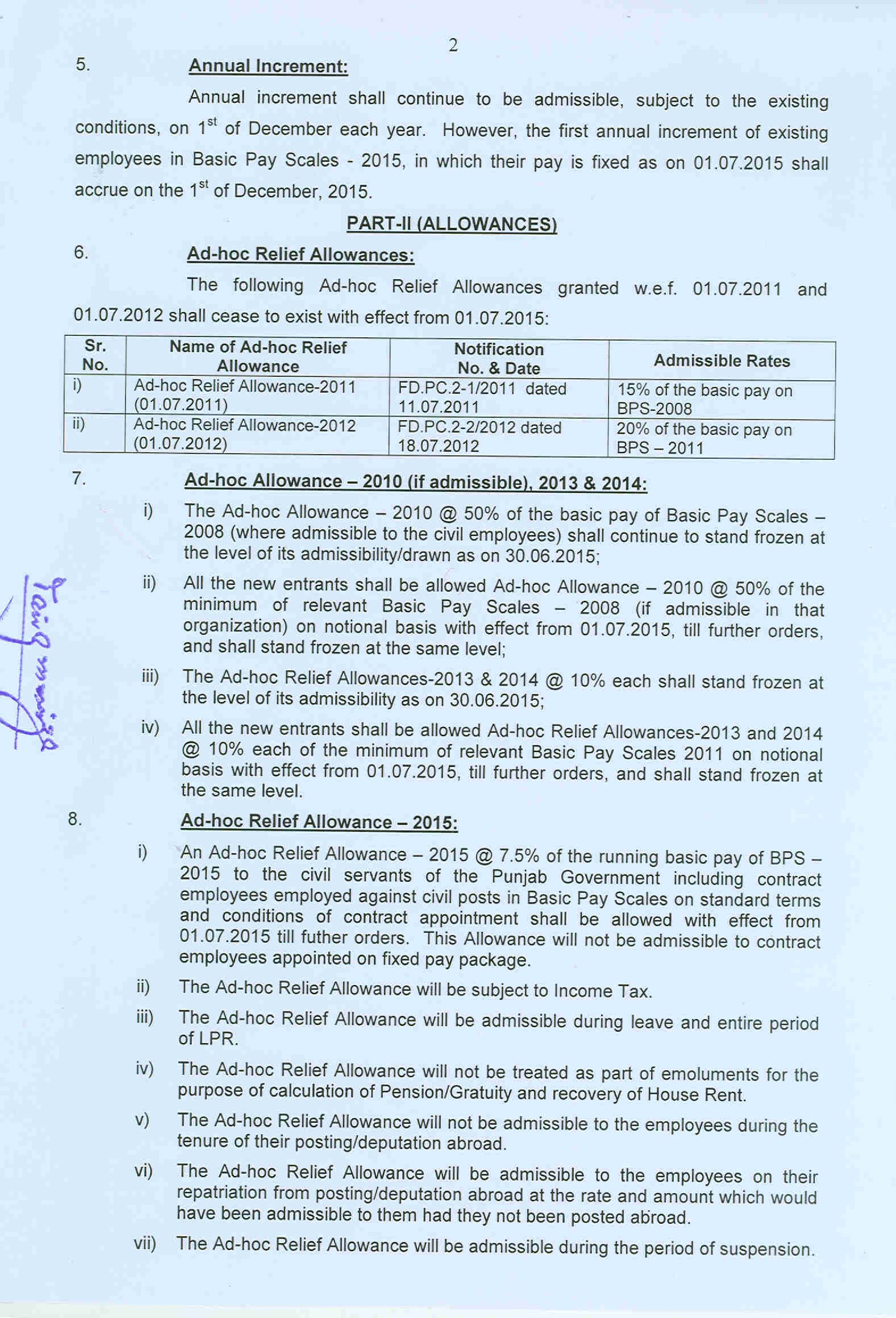 REVISION OF BASIC PAY SCALES and ALLOWANCES OF CIVIL SERVANTS OF THE PUNJAB GOVERNMENT (2015)
